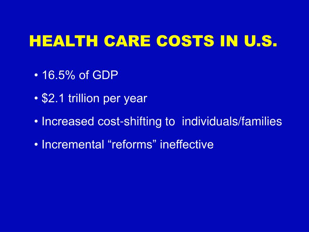 HEALTH CARE COSTS IN U.S.