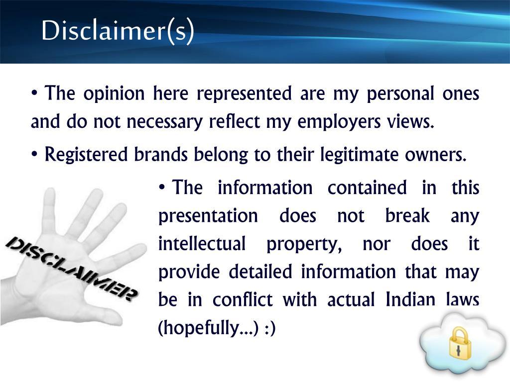 Disclaimer(s)