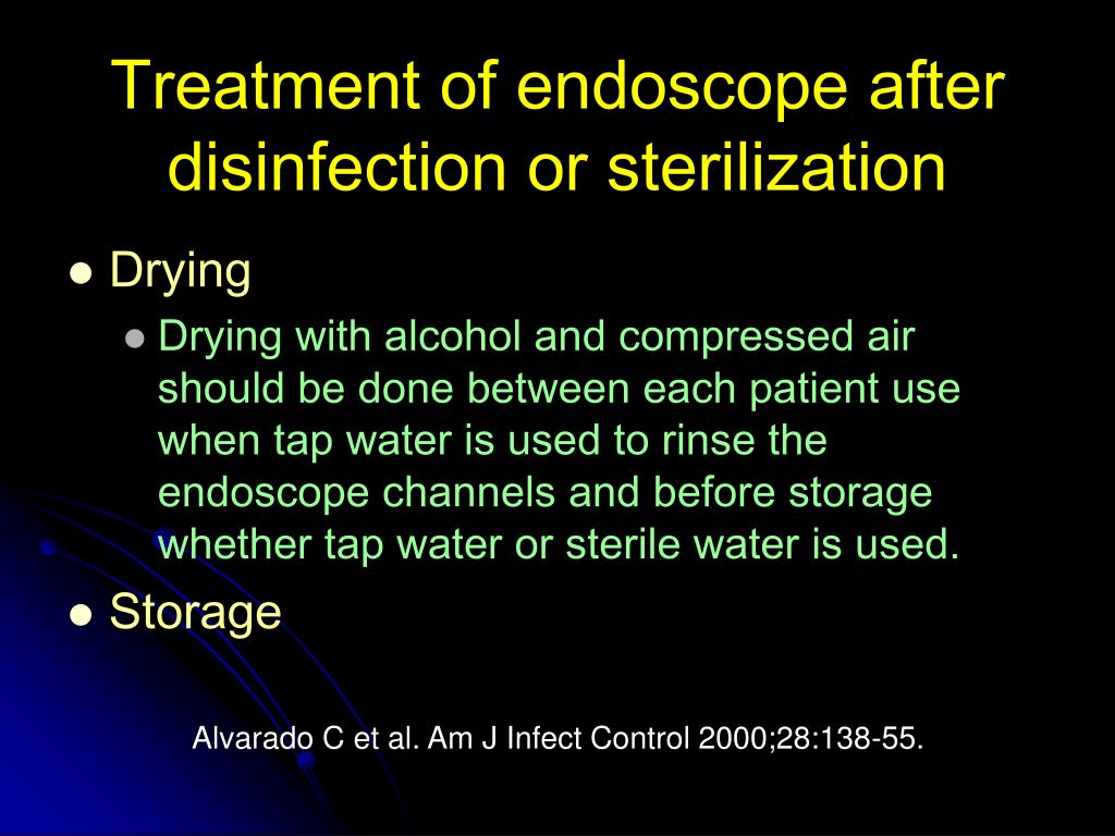 Treatment of endoscope after disinfection or sterilization