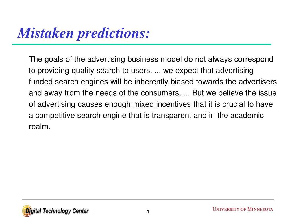 Mistaken predictions