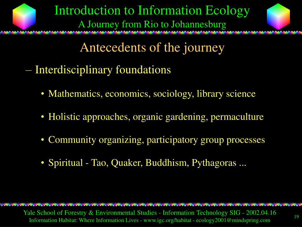 Antecedents of the journey