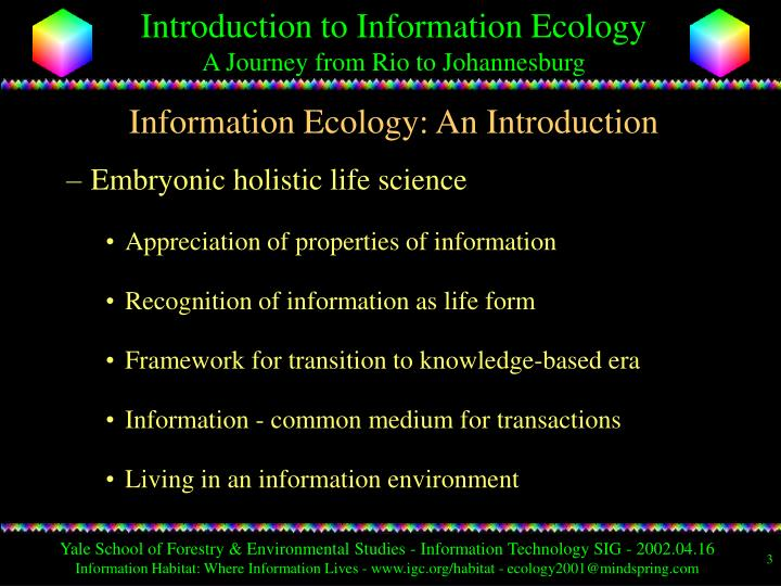 Information ecology an introduction