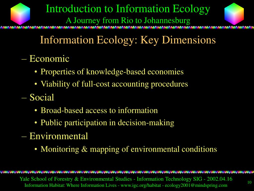 Information Ecology: Key Dimensions