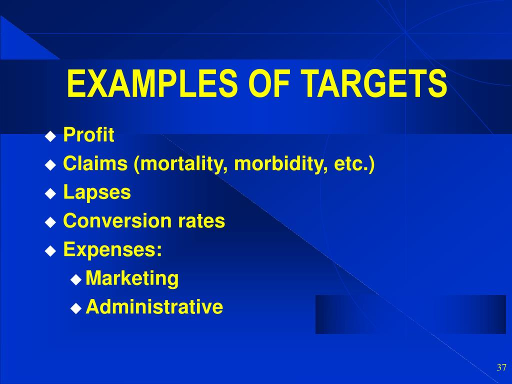 EXAMPLES OF TARGETS
