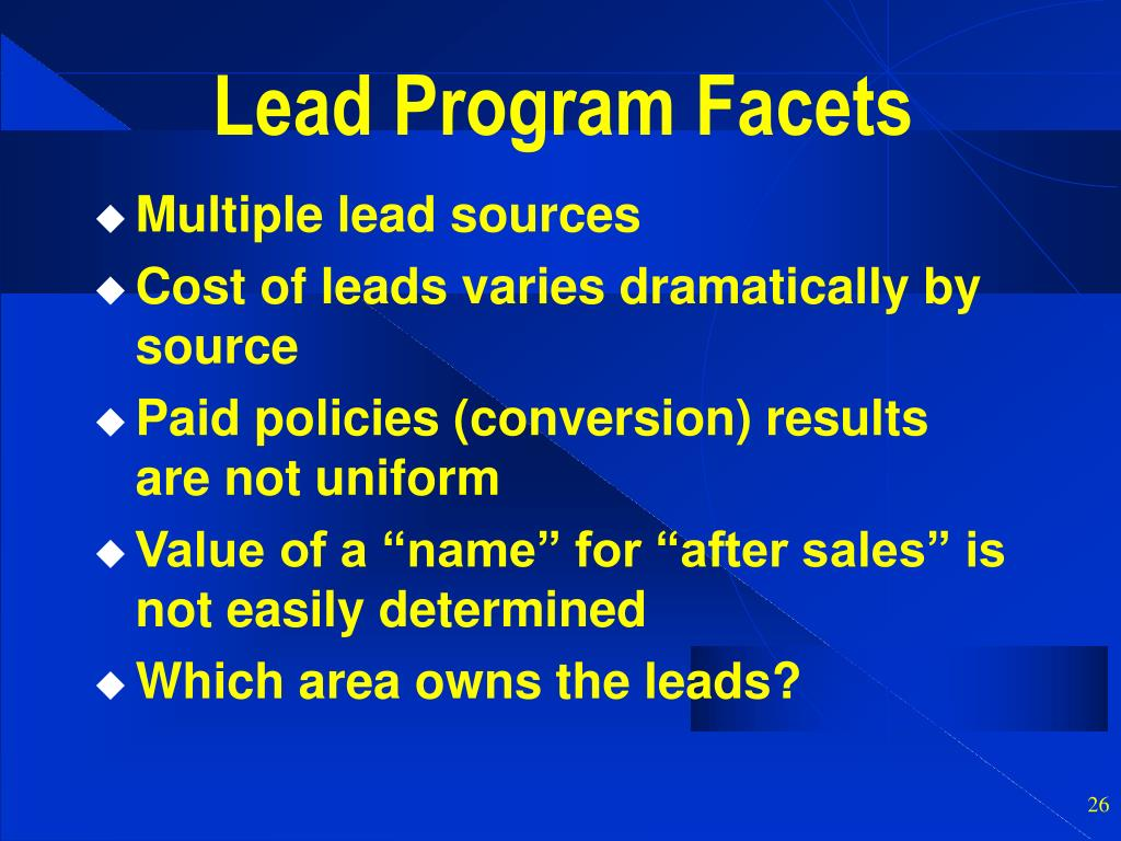 Lead Program Facets