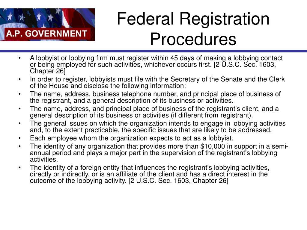 Federal Registration Procedures