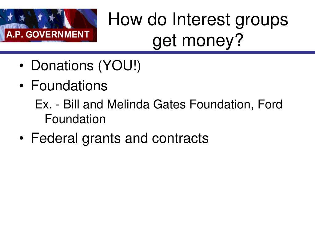 How do Interest groups get money?
