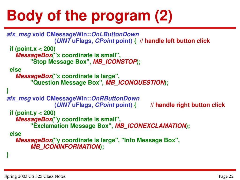 Body of the program (2)