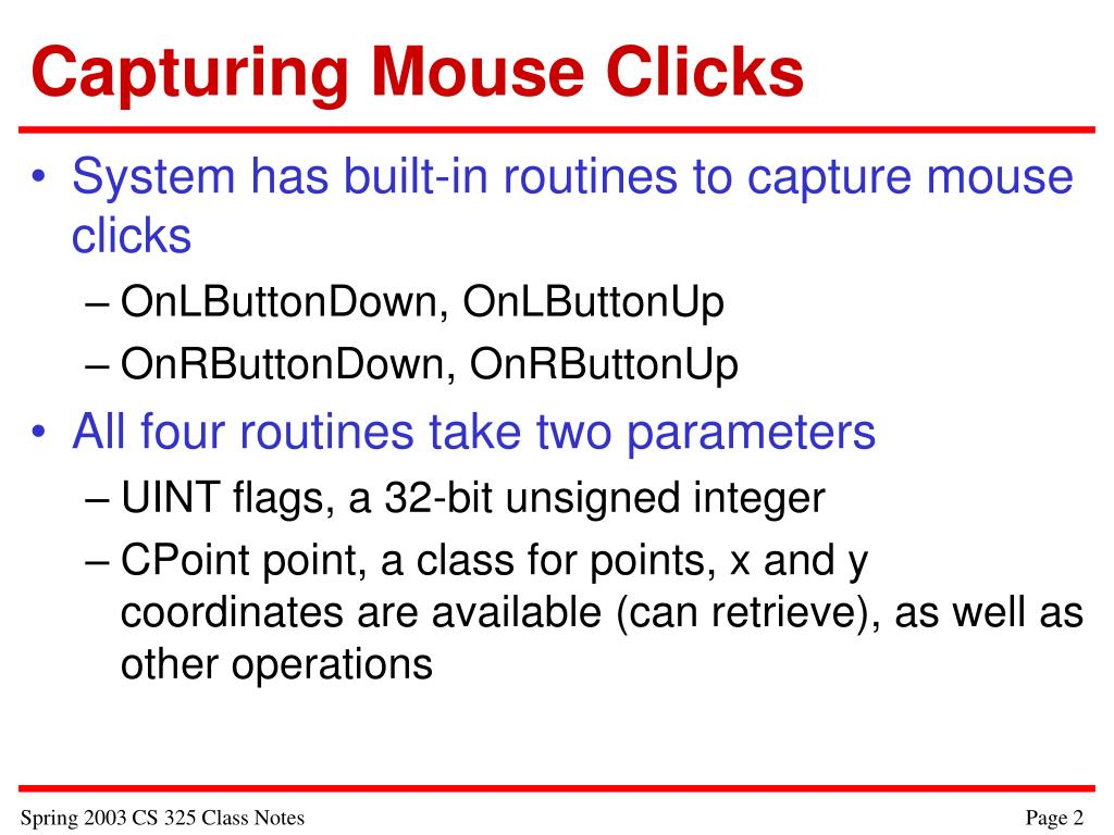 Capturing Mouse Clicks