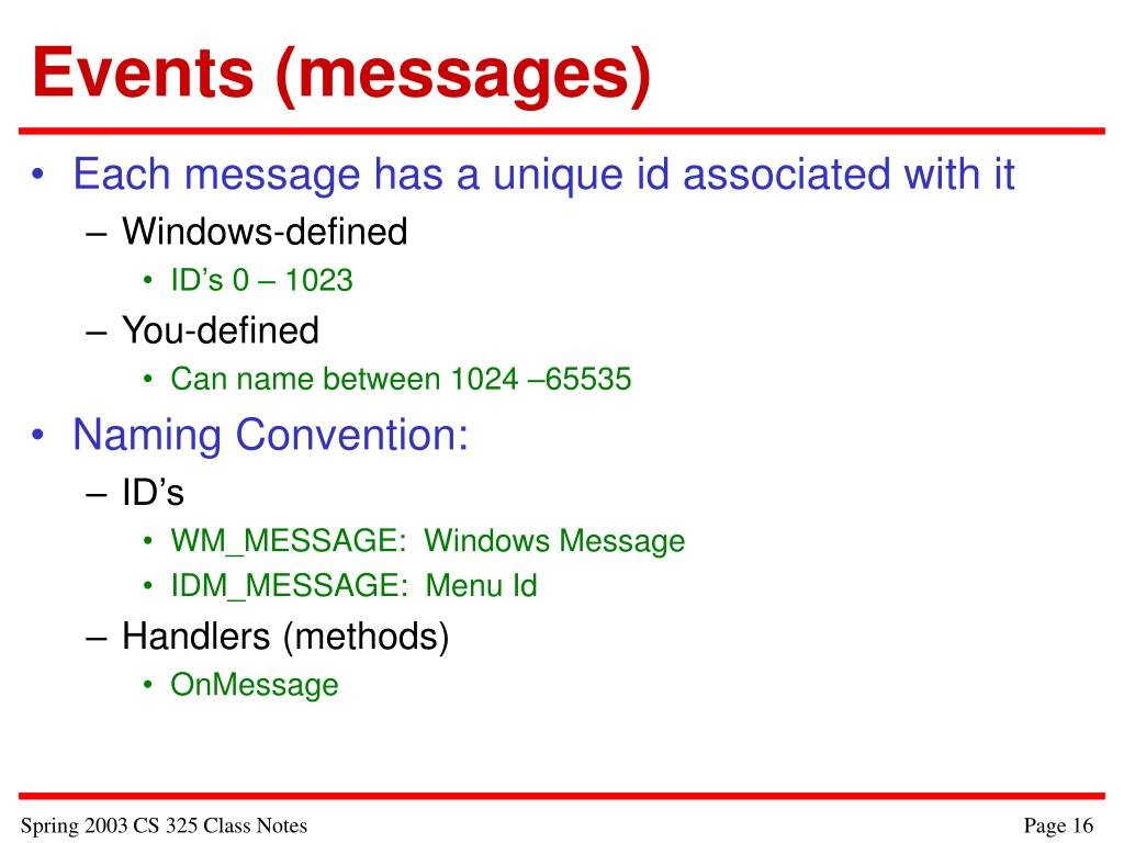 Events (messages)