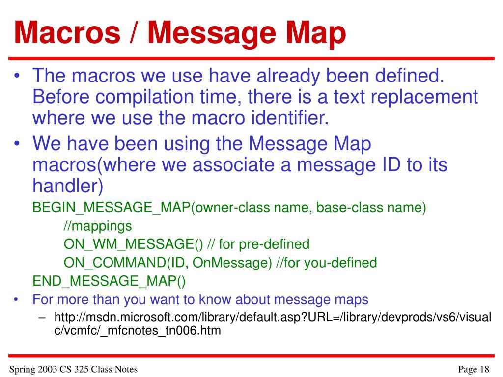 Macros / Message Map