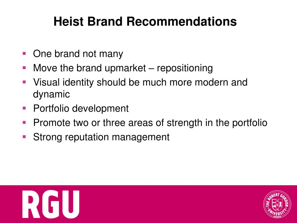 Heist Brand Recommendations
