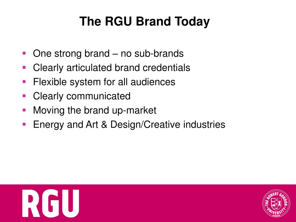 The RGU Brand Today