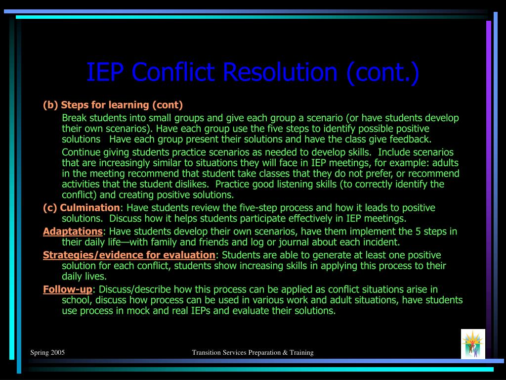 IEP Conflict Resolution (cont.)
