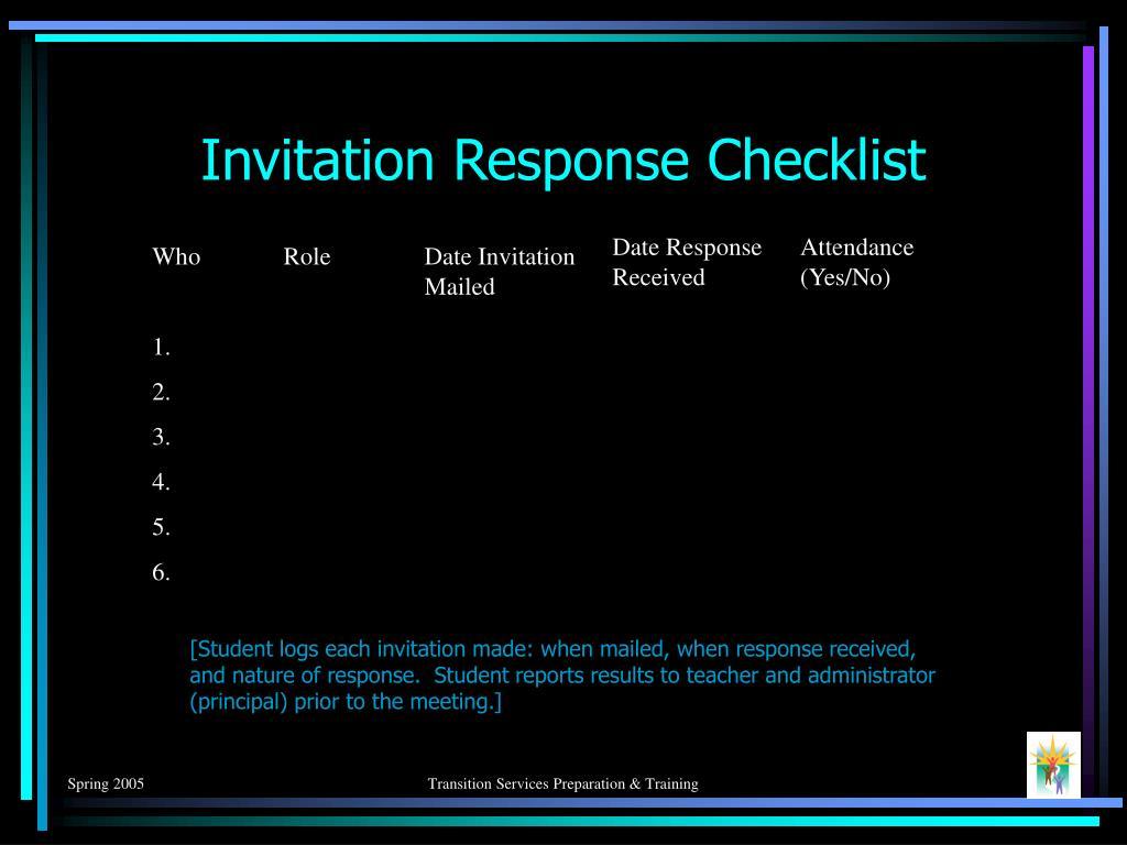 Invitation Response Checklist