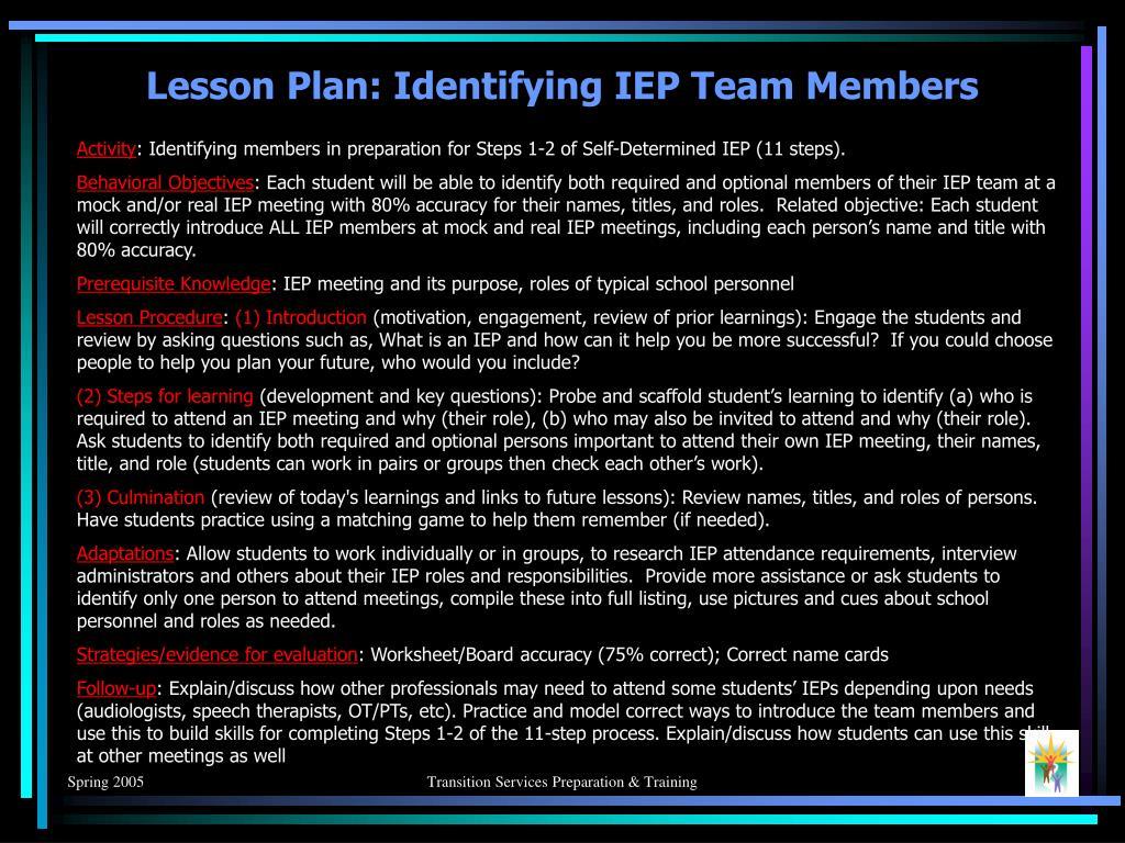 Lesson Plan: Identifying IEP Team Members