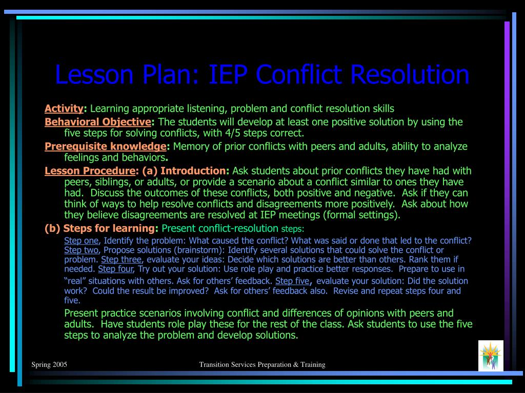 Lesson Plan: IEP Conflict Resolution
