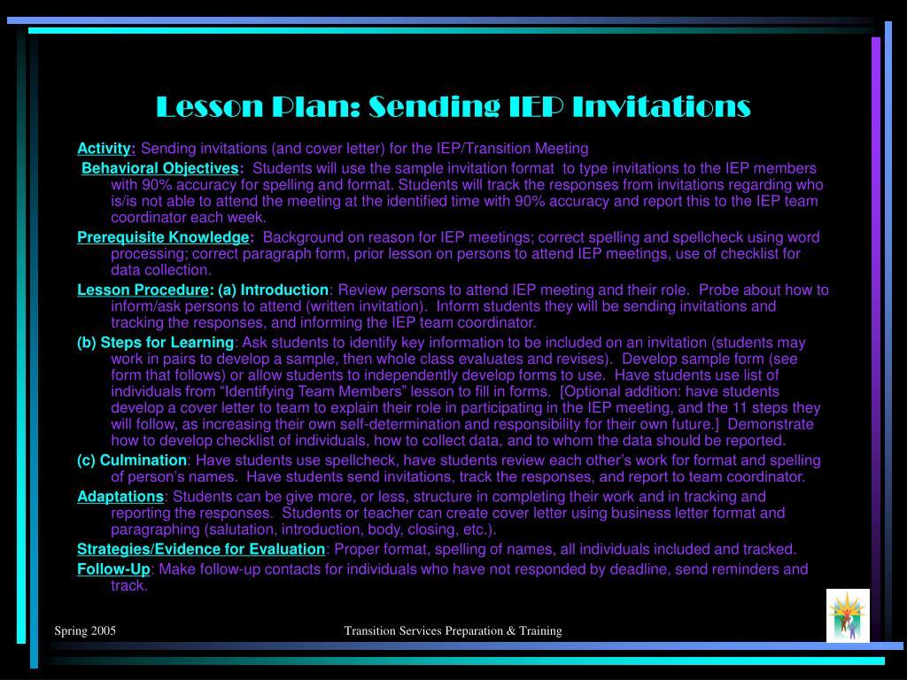 Lesson Plan: Sending IEP Invitations