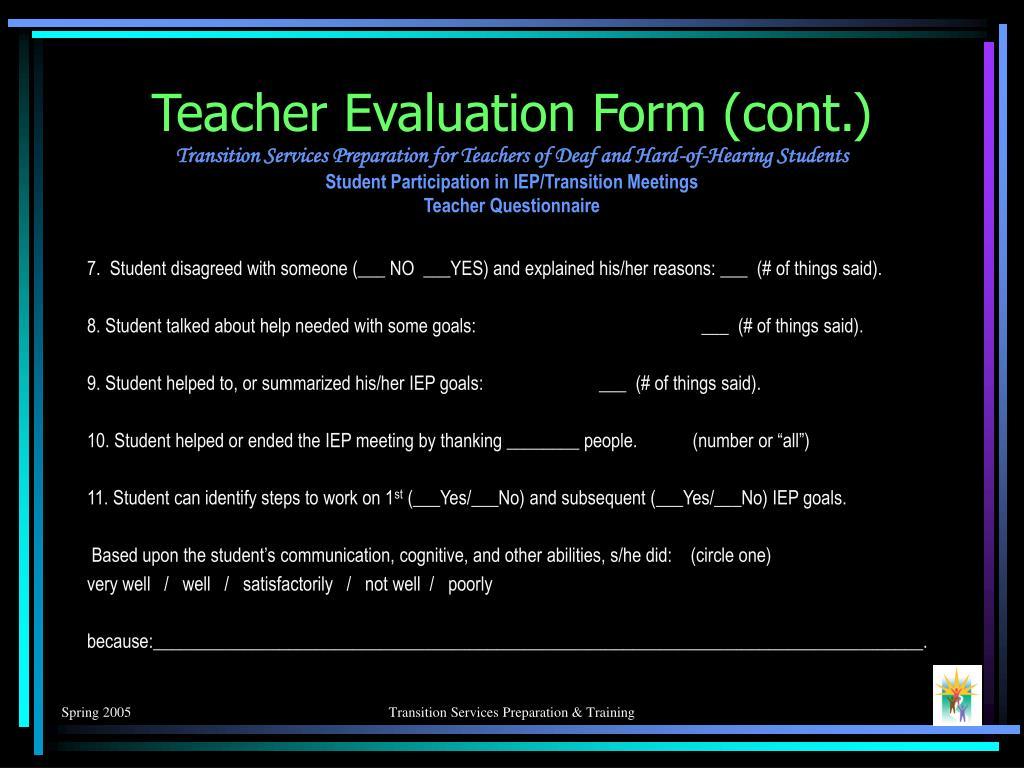 Teacher Evaluation Form (cont.)