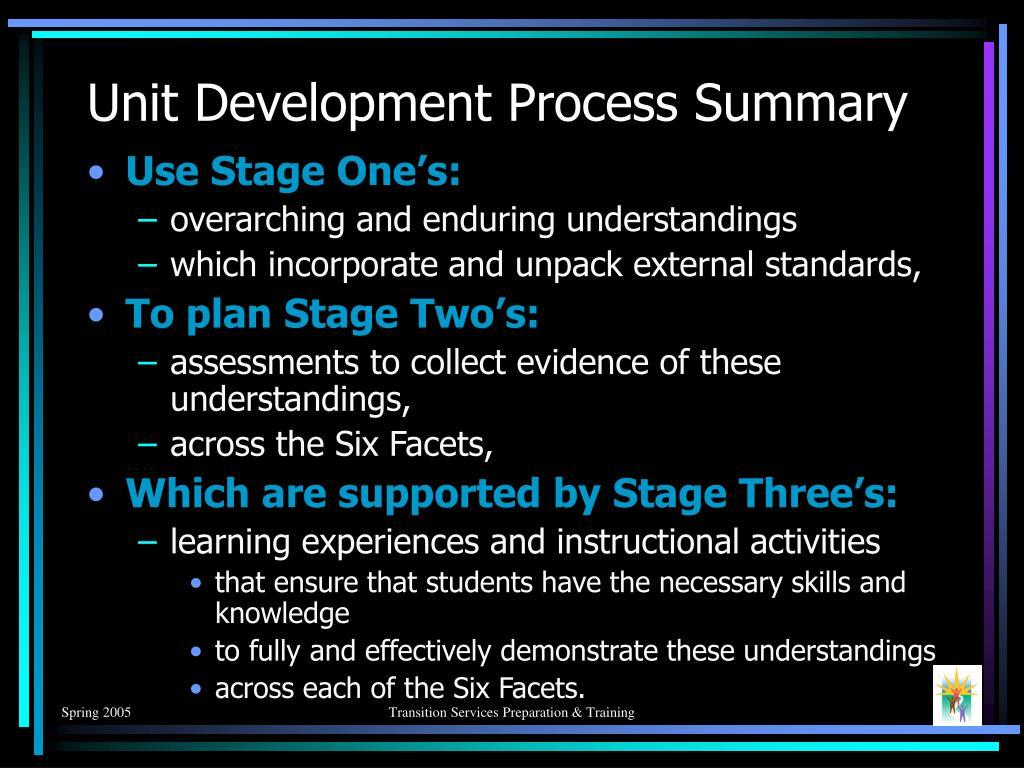 Unit Development Process Summary