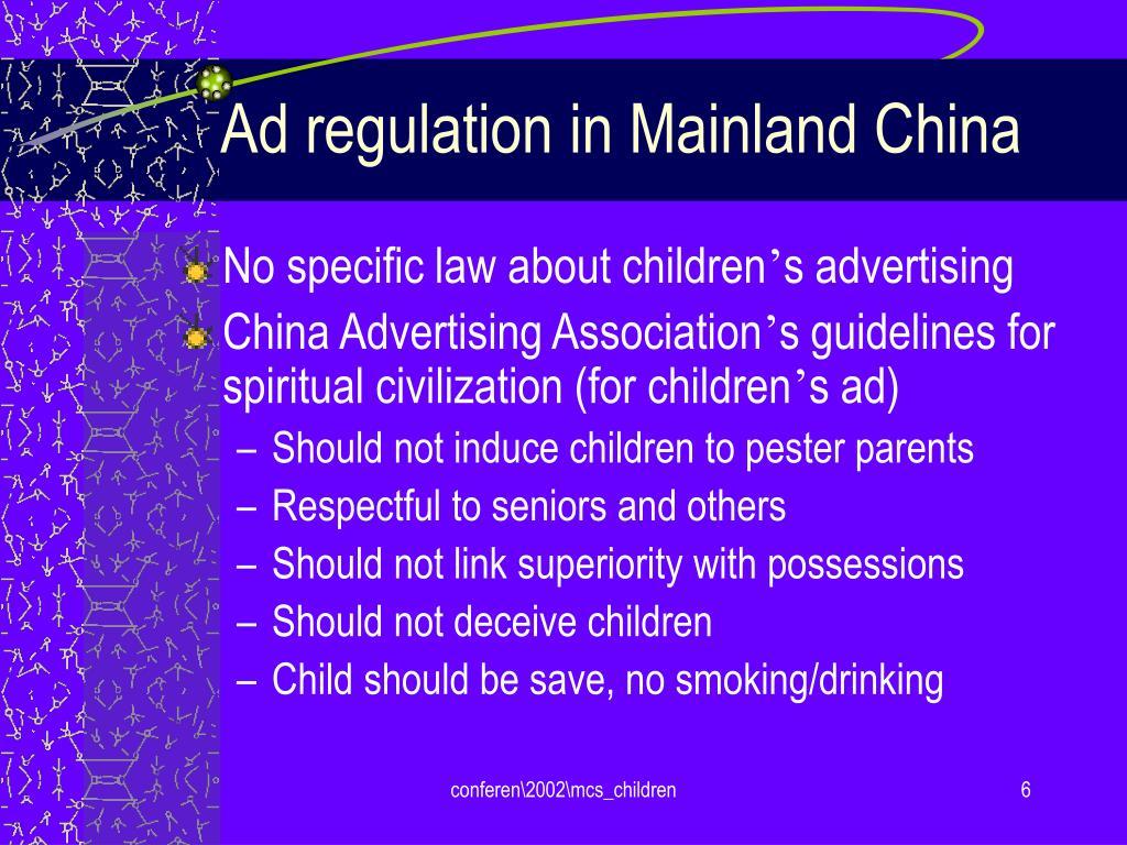 Ad regulation in Mainland China