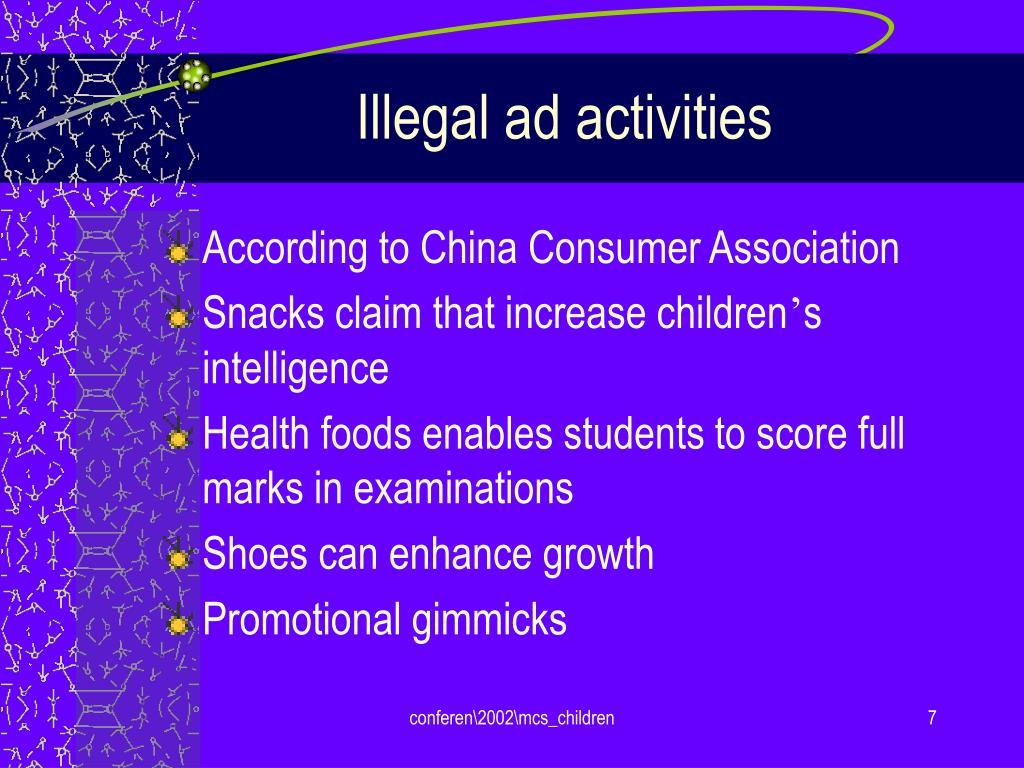 Illegal ad activities