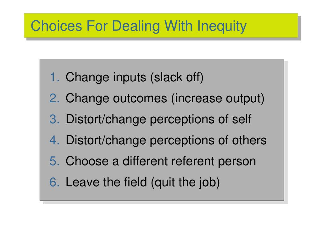 Choices For Dealing With Inequity