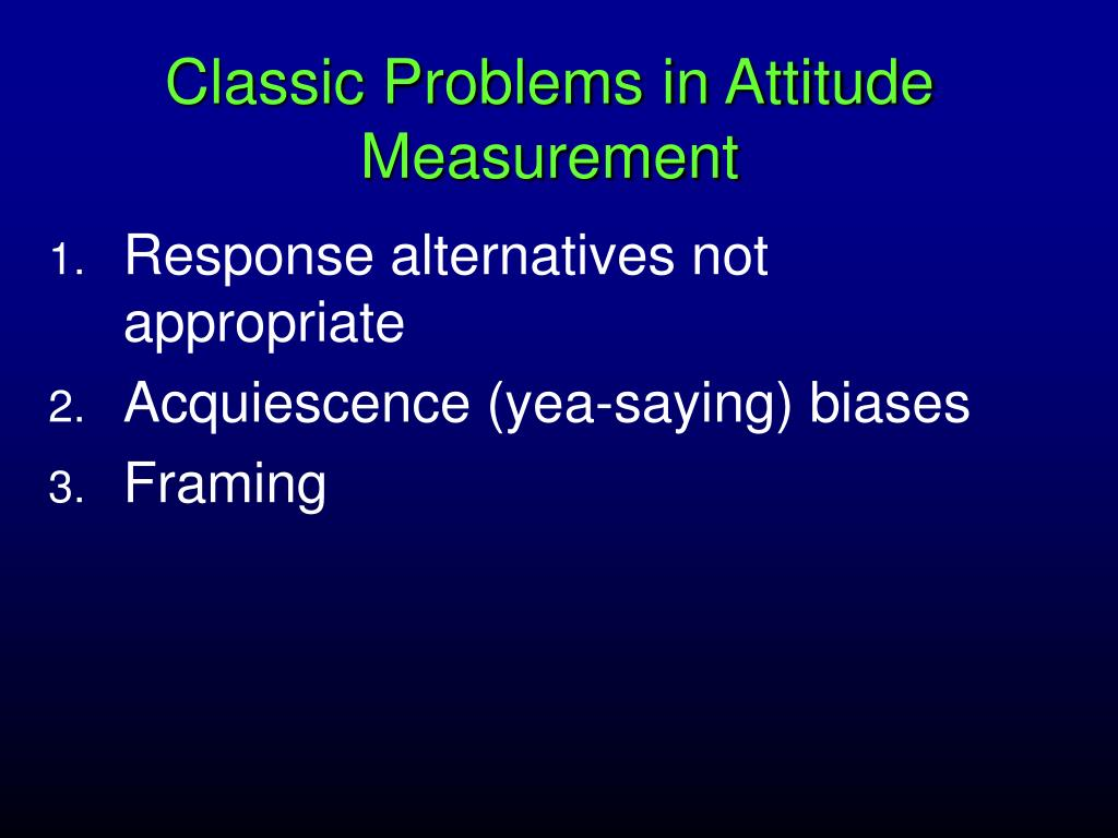 Classic Problems in Attitude Measurement