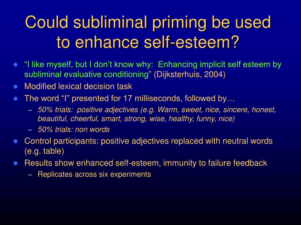 Could subliminal priming be used to enhance self-esteem?