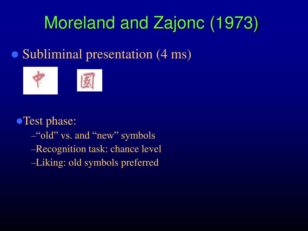 Moreland and Zajonc (1973)