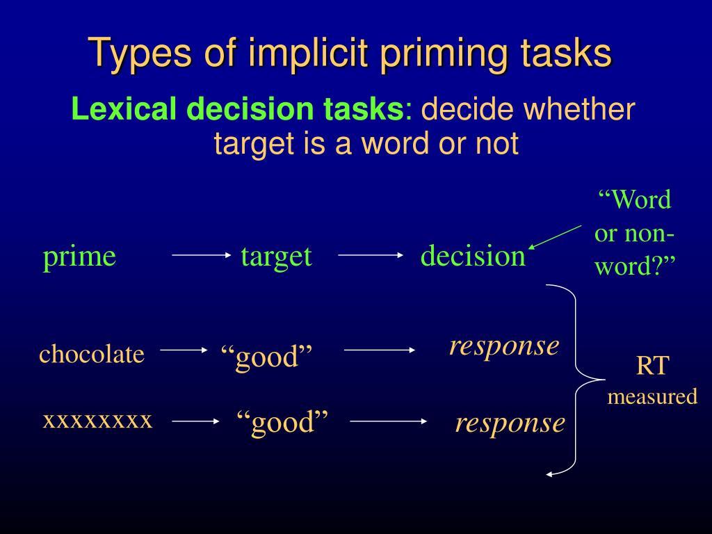 Types of implicit priming tasks