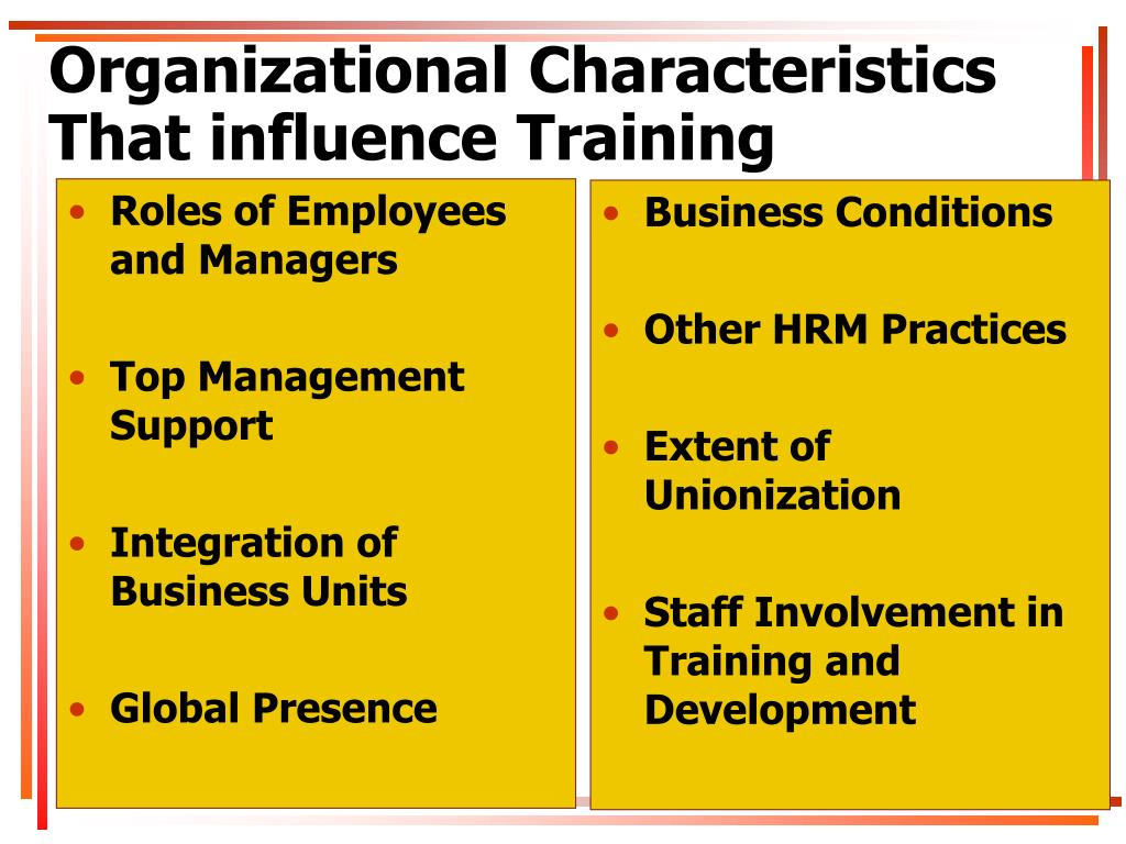 organizational characteristics that influence training Identification of variables affecting employee satisfaction and their impact on the organization 1alam sageer,  are characteristics of the organization, job task factors, and personal characteristics  training program opportunity for use skills and abilities.