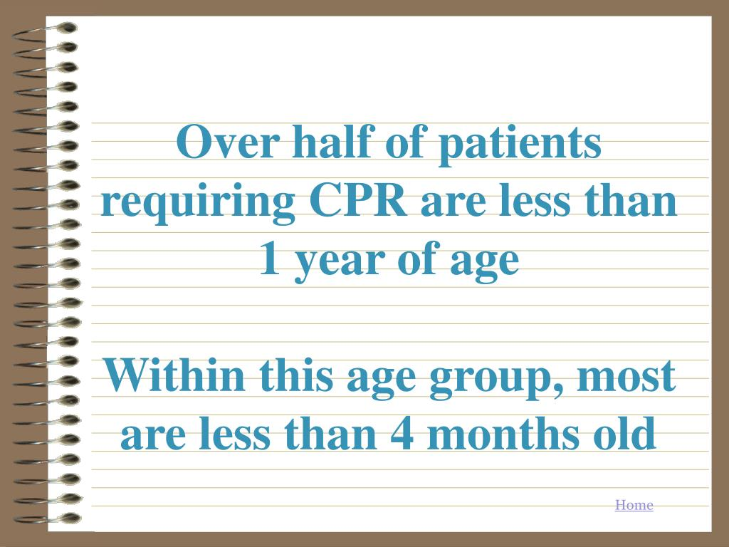 Over half of patients requiring CPR are less than 1 year of age