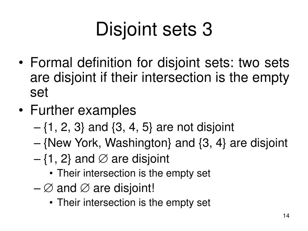 Disjoint sets 3