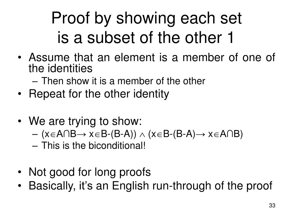 Proof by showing each set