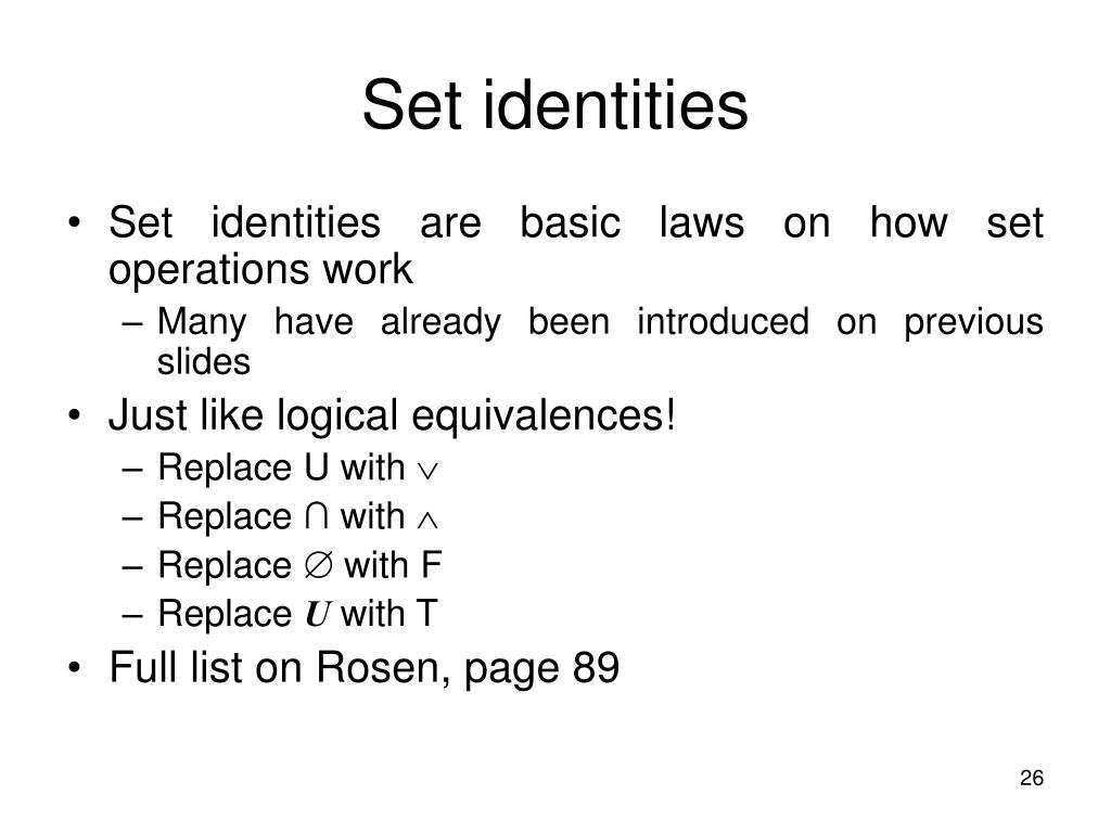 Set identities