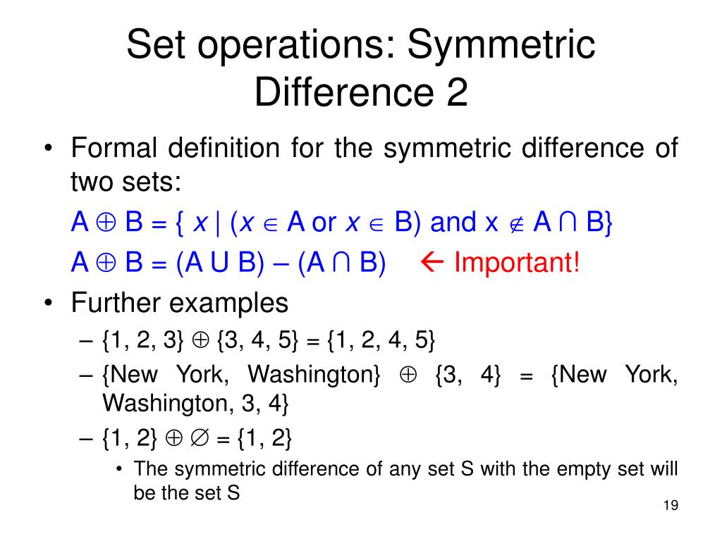 Set operations: Symmetric Difference 2