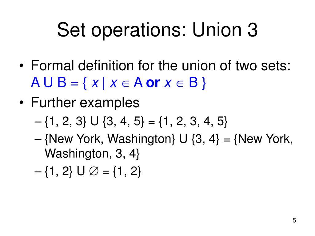 Set operations: Union 3