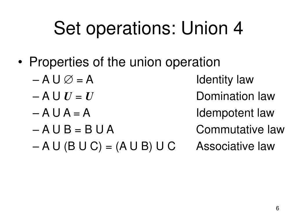 Set operations: Union 4