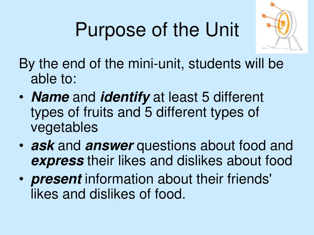 Purpose of the Unit