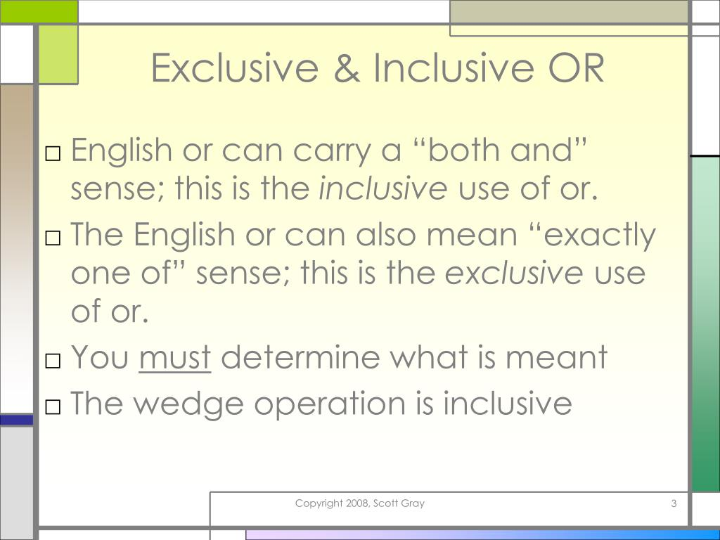 Exclusive & Inclusive OR