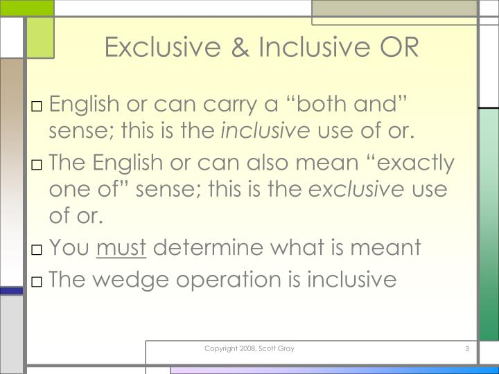 Exclusive inclusive or
