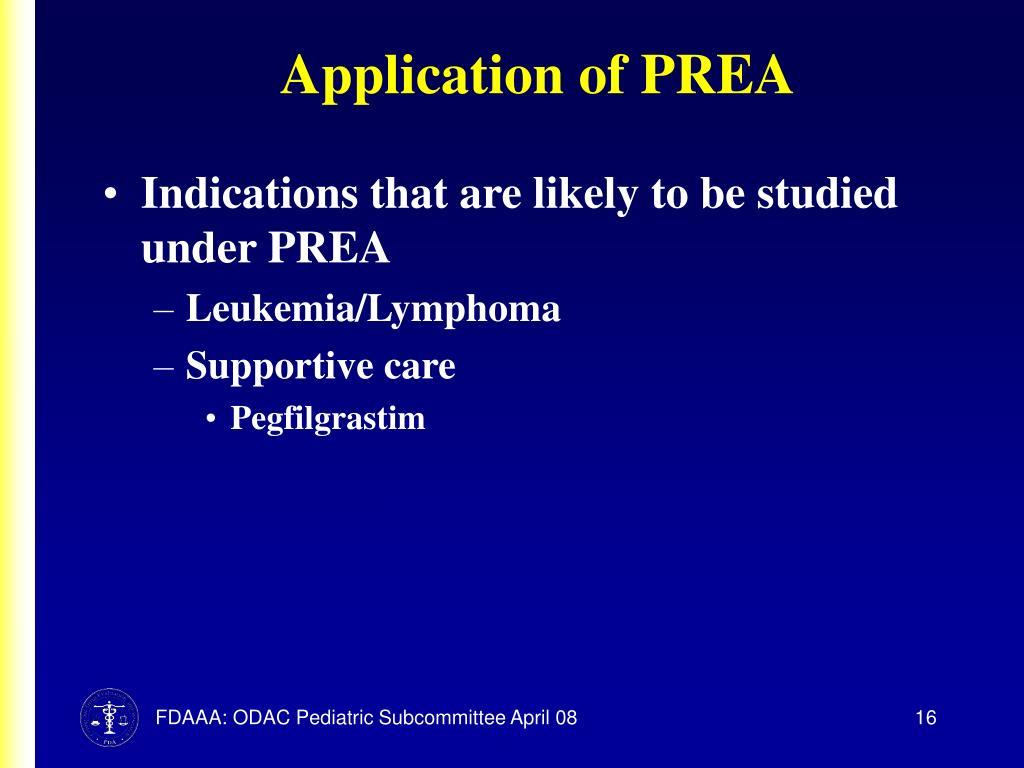 Application of PREA