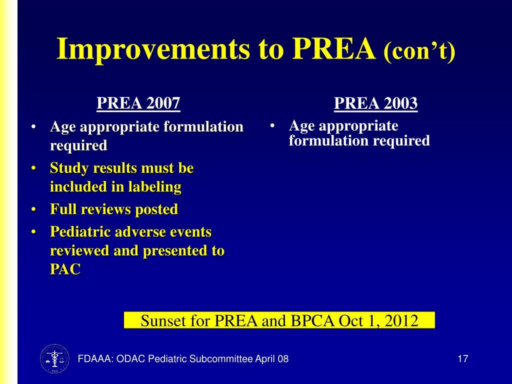 Improvements to PREA