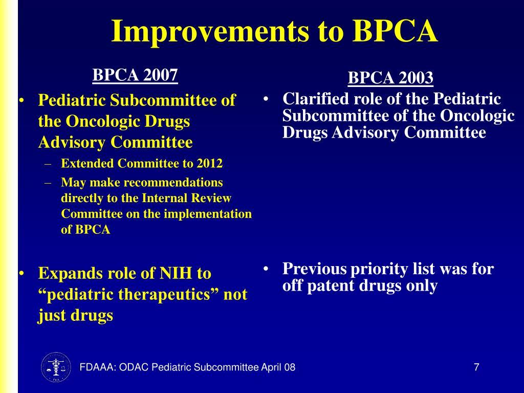 Improvements to BPCA