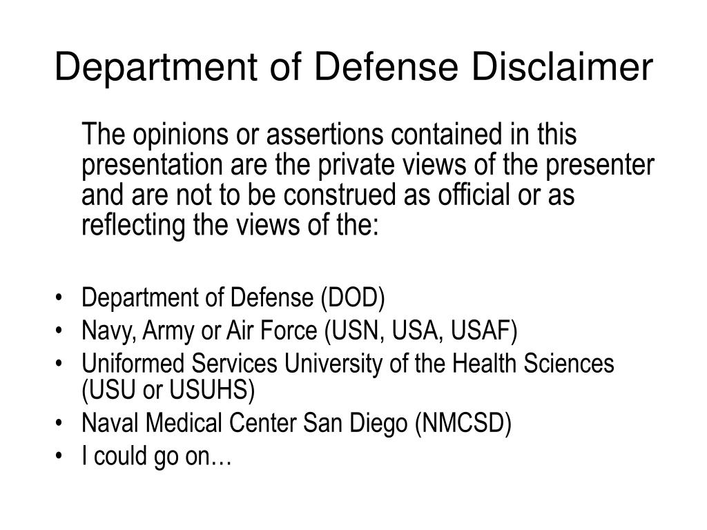 Department of Defense Disclaimer