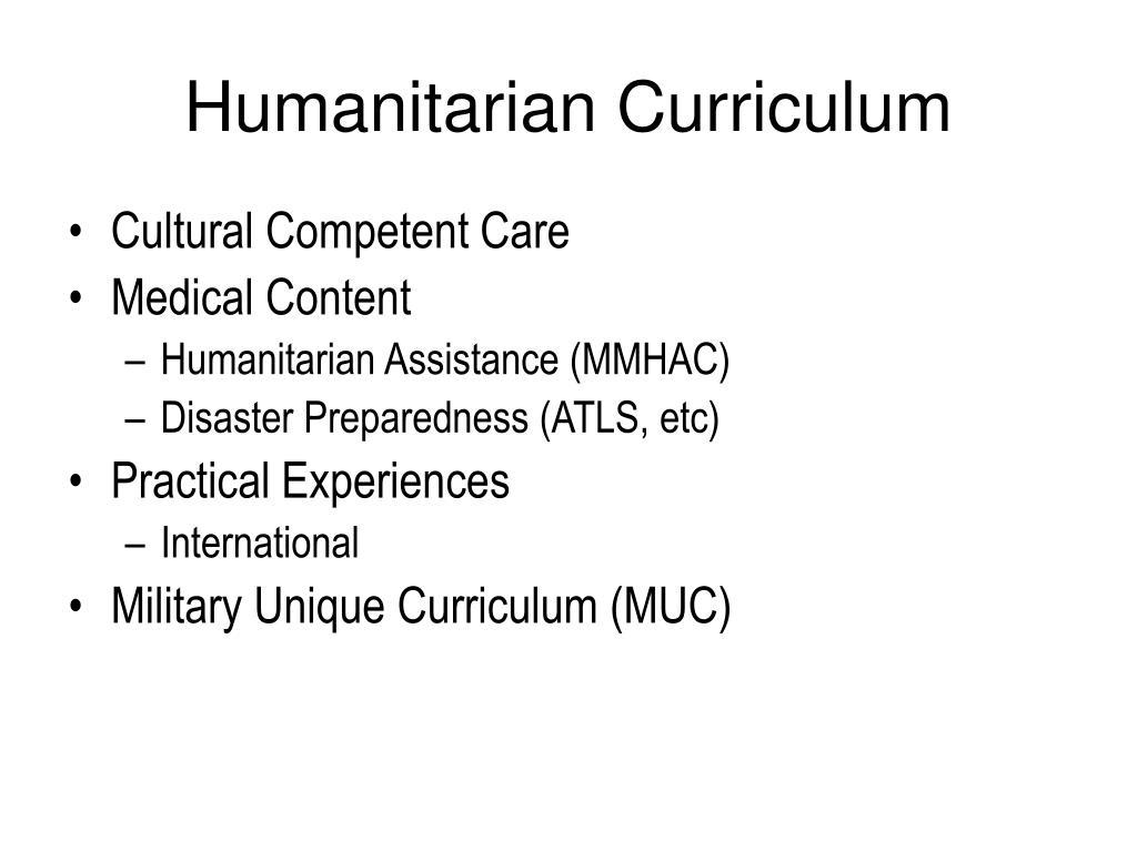 Humanitarian Curriculum