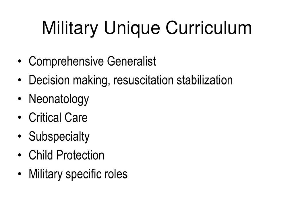 Military Unique Curriculum