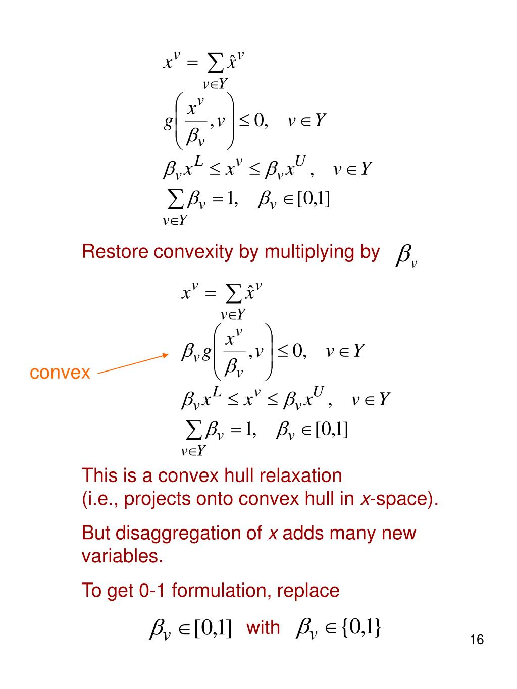 Restore convexity by multiplying by