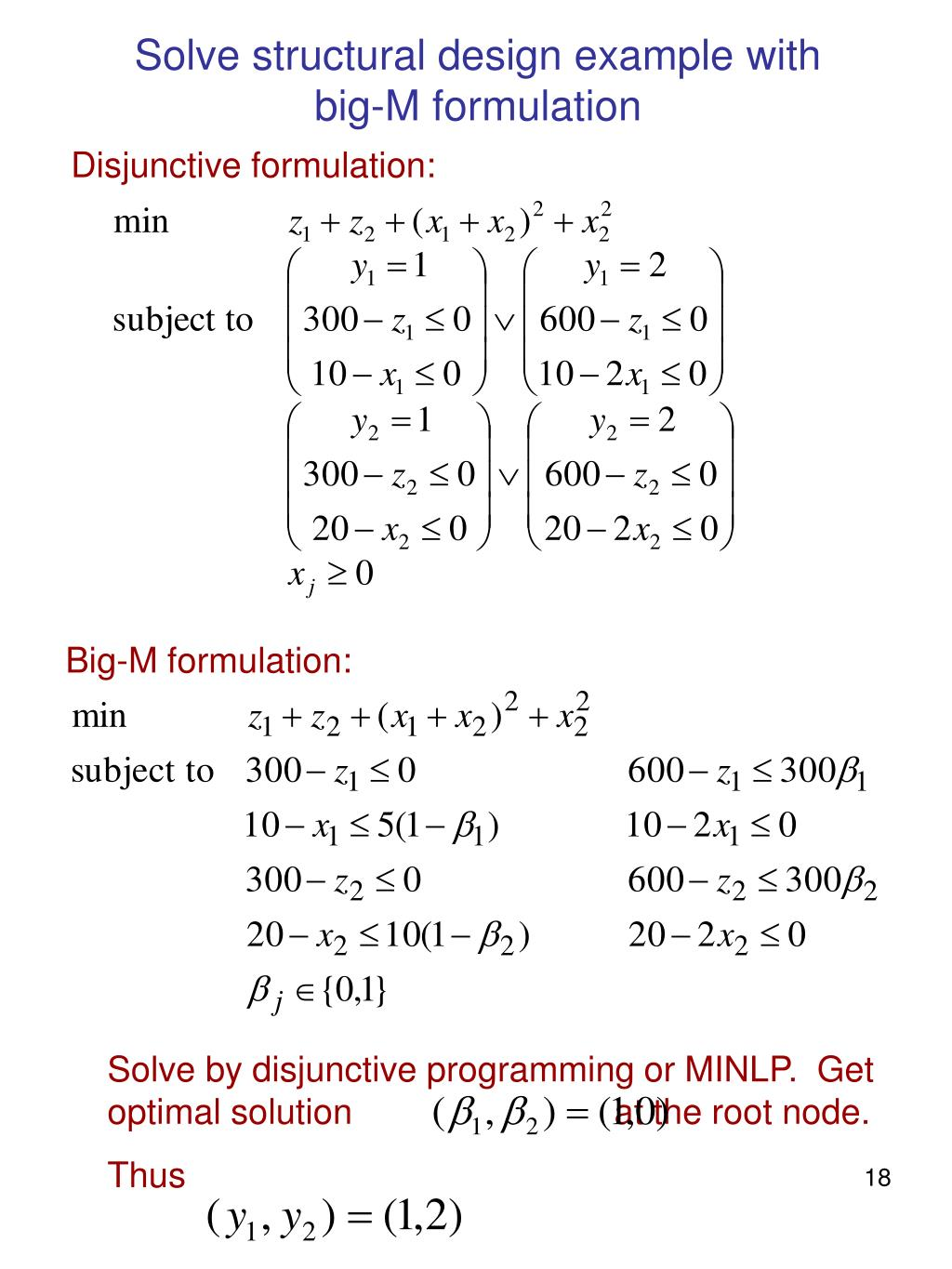 Solve structural design example with big-M formulation
